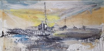 Ships 1970 37x68 Original Painting - Gino Hollander
