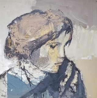 Portrait of a Woman 1980 46x46 Original Painting - Gino Hollander