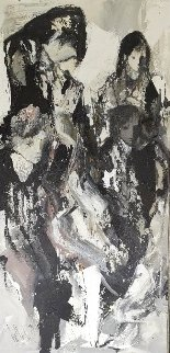 Abstract Woman 1979 76x42 Original Painting - Gino Hollander