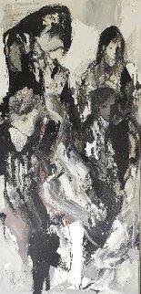 Abstract Woman 1979 76x42 Super Huge Original Painting - Gino Hollander
