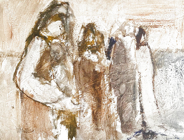 Untitled (Mothers) 1968 19x25 Original Painting by Gino Hollander