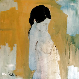 Untitled Nude 48x48 Original Painting - Gino Hollander
