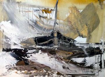 Untitled V 1977 31x41 Huge Original Painting - Gino Hollander