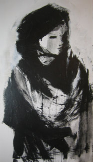 Untitled IV Woman 1980 49x25 Super Huge Original Painting - Gino Hollander