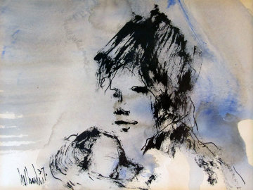 Untitled (Portrait of a Girl) 1970 10x12 Original Painting by Gino Hollander