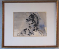 Untitled (Portrait of a Girl) 1970 10x12 Original Painting by Gino Hollander - 1