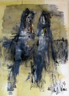 Untitled (Two Figures) 1976 12x10 Original Painting - Gino Hollander