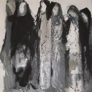 Las Mujeres 1979 30x30 Original Painting - Gino Hollander