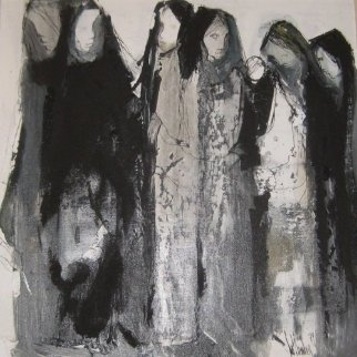Las Mujeres 1979 30x30 Original Painting by Gino Hollander