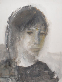 Young Woman 1965 42x33 Original Painting - Gino Hollander