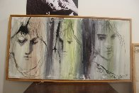 3 Faces 1986 39x20 Original Painting by Gino Hollander - 1