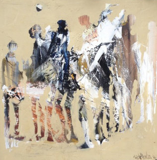 Crowded People 1976 59x59 Original Painting - Gino Hollander
