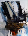 Untitled Storm Scene 1975 41x31 Original Painting - Gino Hollander