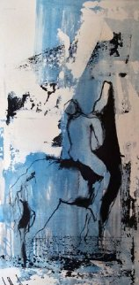 Untitled Blue Figure 1975 41x21 Original Painting - Gino Hollander