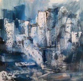 Untitled Blue Village 1978 43x23  Huge Original Painting - Gino Hollander