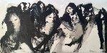 Untitled Group of Ladies 1970 35x66 Original Painting - Gino Hollander