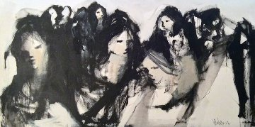 Untitled Group of Ladies 1970 35x66 Original Painting - Gino Hollander