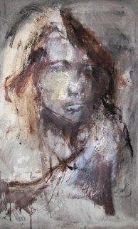 Women's Portrait 1969 39x23 Original Painting - Gino Hollander