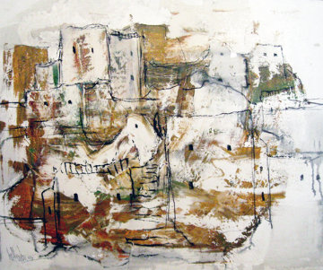 Absract Dwelling 1967 25x30 Original Painting by Gino Hollander