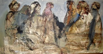 Five Women 1969 21x41 Original Painting by Gino Hollander