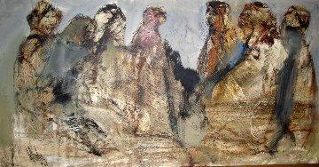 Five Women 1969 21x41 Original Painting by Gino Hollander