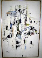 Abstract Dwelling II 1968 31x21 Original Painting by Gino Hollander - 1