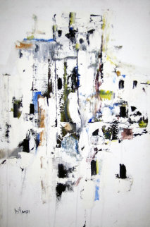 Abstract Dwelling II 1968 31x21 Original Painting - Gino Hollander