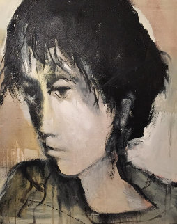 Untitled (Head of a Young Man) 1983 40x40 Original Painting - Gino Hollander