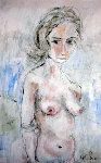 Untitled Nude 1961 40x28 Original Painting - Gino Hollander