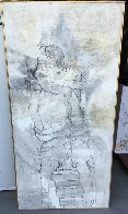 Seated Boy on Chair 1966 66x33 Super Huge Original Painting by Gino Hollander - 1