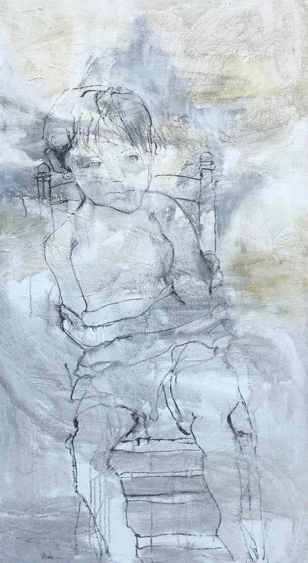 Seated Boy on Chair 1966 66x33 Super Huge Original Painting by Gino Hollander