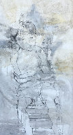 Seated Boy on Chair 1966 66x33 Super Huge Original Painting by Gino Hollander - 0