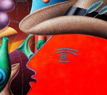 Red Dandy 1984 36x40 Huge Original Painting - Yankel Ginzburg