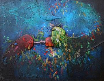 Untitled Painting 1975 22x28 Original Painting by Yankel Ginzburg