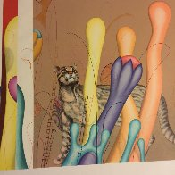 Feline And Ladders 1983 Limited Edition Print by Yankel Ginzburg - 2