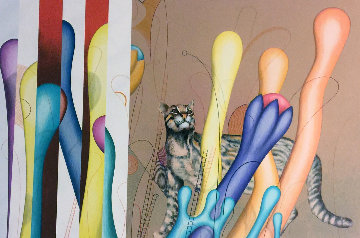 Feline And Ladders 1983 Limited Edition Print by Yankel Ginzburg