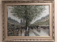 Untitled Paris Cityscape 1983 39x49 Super Huge Original Painting by Andre Gisson - 1