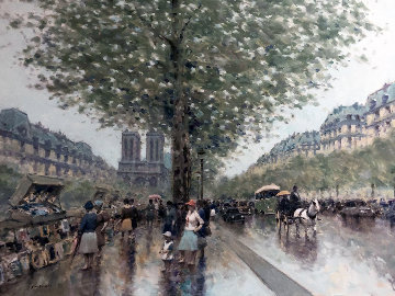 Untitled Paris Cityscape 1983 39x49 Super Huge Original Painting - Andre Gisson