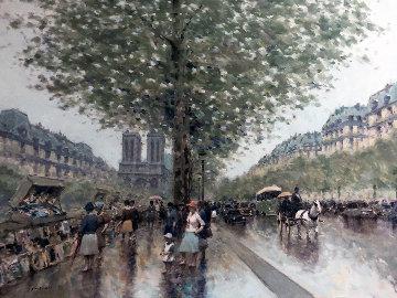 Untitled Paris Cityscape 1983 39x49  Huge Original Painting - Andre Gisson
