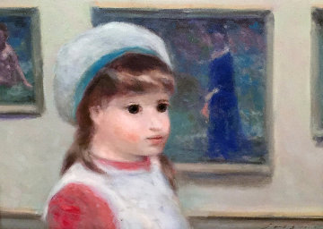 Untitled (Portrait of a Girl) 15x18 Original Painting - Andre Gisson