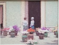 Flower Market 1980 17x20 Original Painting by Andre Gisson - 2