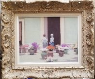 Flower Market 1980 17x20 Original Painting by Andre Gisson - 1