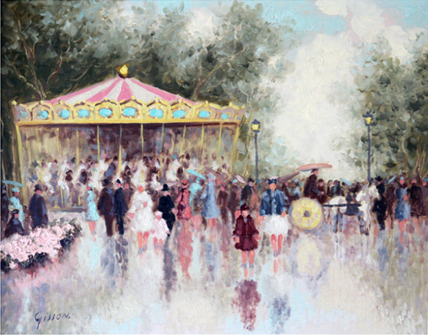 Carousel 24x28 Original Painting by Andre Gisson