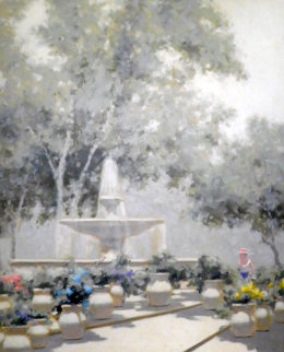 Woman And Fountain in the Tuileries Garden 37x31 1950 Paris Original Painting - Andre Gisson