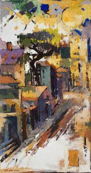 Untitled Cityscape Painting 38x20 Original Painting by Kamal Givian