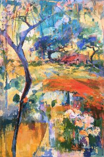 Butterfly Garden 72x48 in Original Painting - Kamal Givian