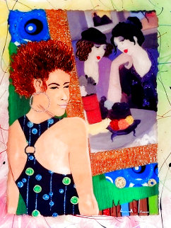Girrrrl You Gotta See This One II Homage to Tarkay 2013 30x25 Original Painting - Marcus Glenn