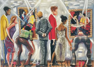 At the Tarkay Exhibit Embellished 2004 Limited Edition Print by Marcus Glenn
