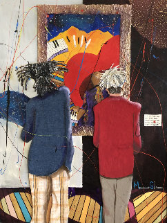 Basquiat and Warhol With Glenn, From the Series a Day At the Gallery 2006 35x28 Original Painting - Marcus Glenn
