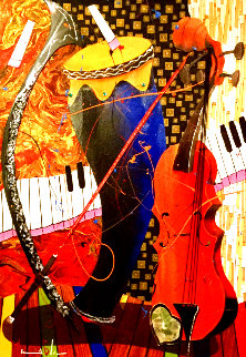 Instruments Jamming to Their Own Beat 2012 39x30 Original Painting - Marcus Glenn